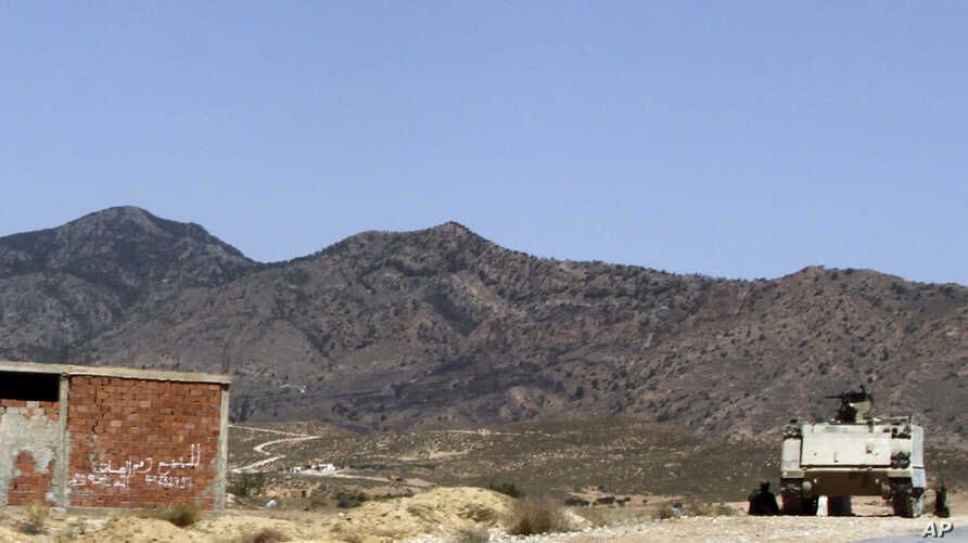 FILE - A Tunisian armored personnel carrier patrols near the Jebel Chaambi mountain, June 25, 2013.