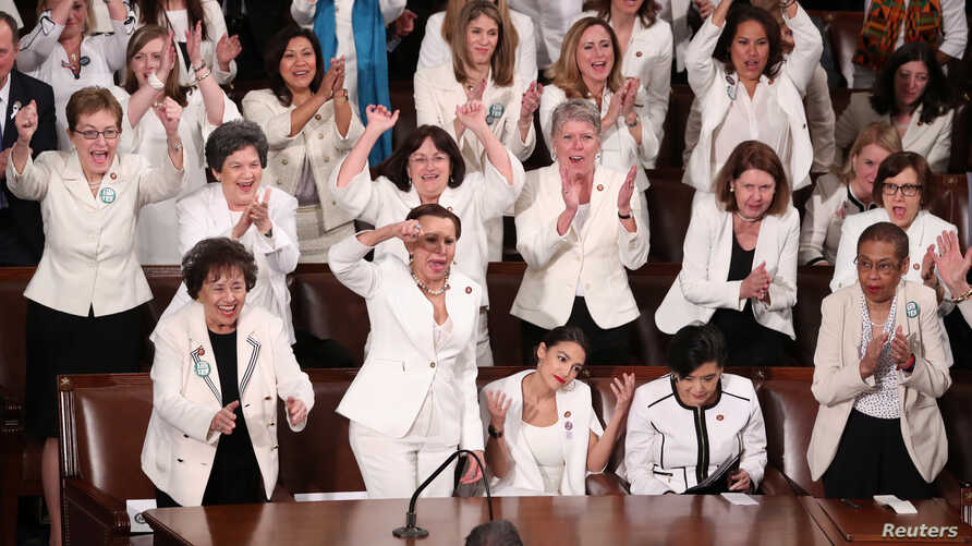 Democratic female members of Congress cheer after President Donald Trump said there are more women in Congress than ever before during his second State of the Union address to a joint session of Congress at the U.S. Capitol in Washington, Feb. 5, 201