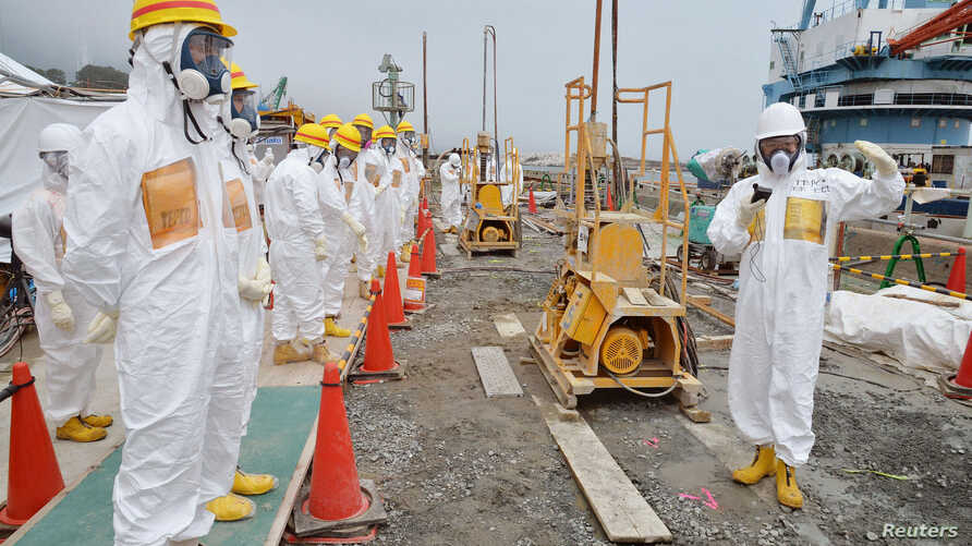 Members of a Fukushima prefecture panel, which monitors safe decommissioning of the nuclear plant, inspect the construction site of the shore barrier at the tsunami-crippled Fukushima Daiichi nuclear power plant in Fukushima, in this photo released b