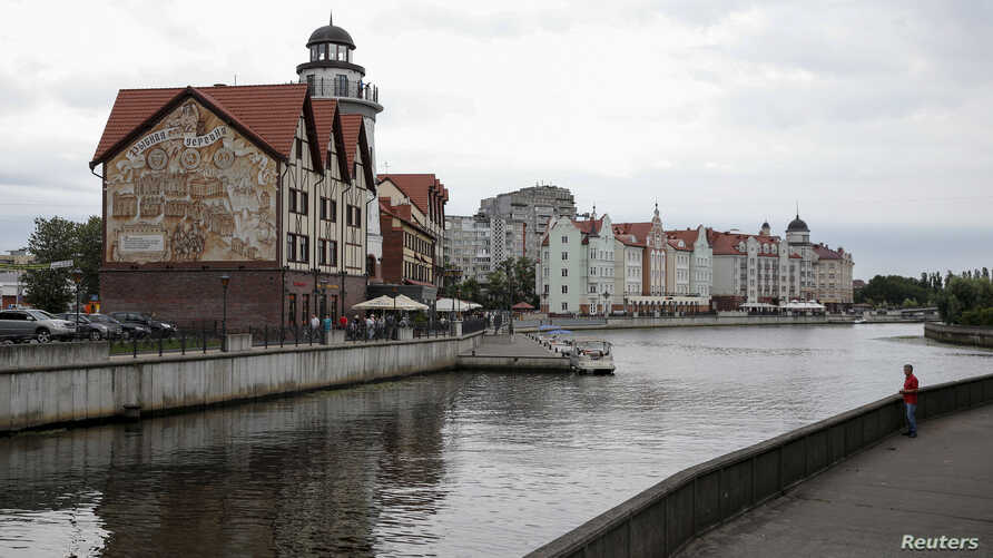 """A general view shows the """"Fishing Village"""" ethnographic, craft and trade center in the Baltic Sea port of Kaliningrad, Russia."""
