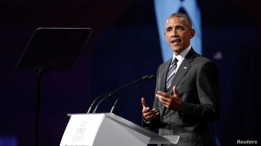 Former U.S. President Barack Obama delivers his keynote speech to the Montreal Chamber of Commerce at the Palais de Congres in Montreal, Quebec, Canada, June 6, 2017.