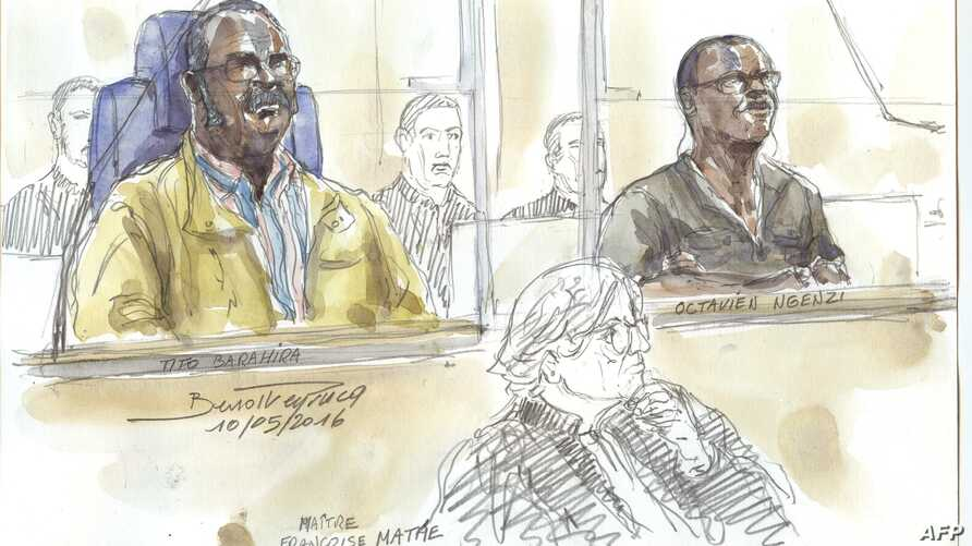 """FILE - This courtroom sketch made on May 10, 2016 shows Tito Barahira (back, L) and Octavien Ngenzi (back, R), two former Rwandan mayors who are accused of orchestrating """"massive and systematic summary executions"""" in the central African country's 199"""