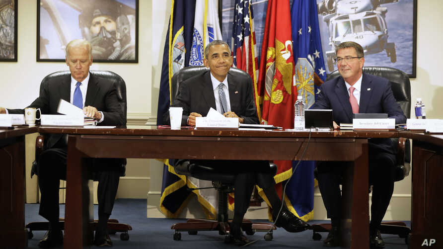 From left, Vice President Joe Biden, President Barack Obama, and Defense Secretary Ash Carter arrive for a National Security Council Meeting on efforts to counter the Islamic State campaign group, Aug. 4, 2016, at the Pentagon.