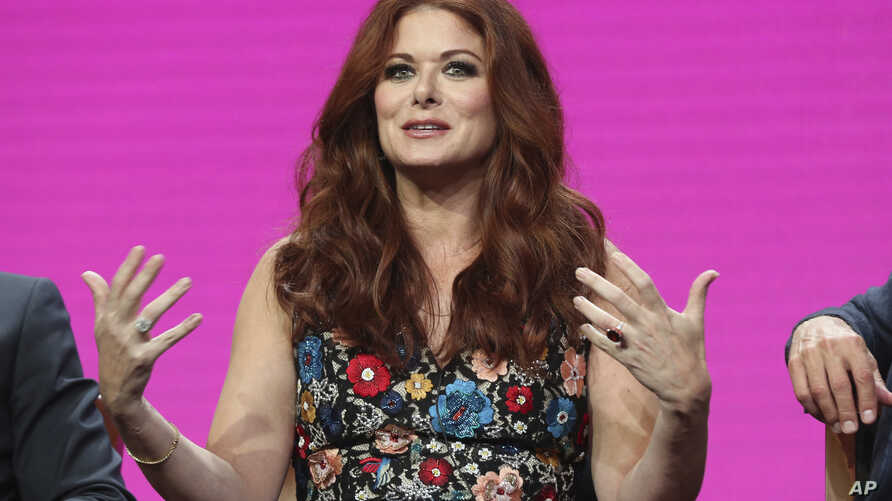 """Debra Messing participates in the """"Will & Grace"""" panel during the NBC Television Critics Association Summer Press Tour at the Beverly Hilton, on Aug. 3, 2017, in Beverly Hills, Calif."""