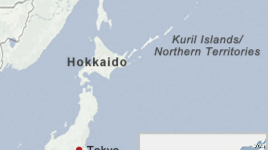 A map of the disputed Kuril Islands.