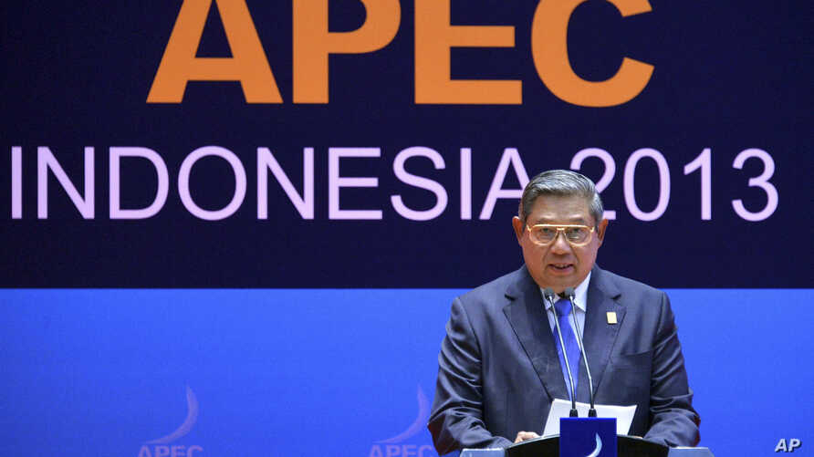 Indonesian President Susilo Bambang Yudhoyono speaks during leaders' press conference at the Asia-Pacific Economic Cooperation (APEC) forum in Bali, Indonesia, Oct. 8, 2013.