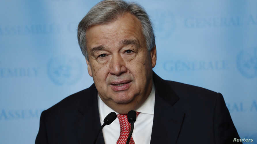 United Nations Secretary-General-designate Antonio Guterres of Portugal speaks to members of the media after being sworn in at UN headquarters in New York, Dec. 12, 2016. His term began with the new year.