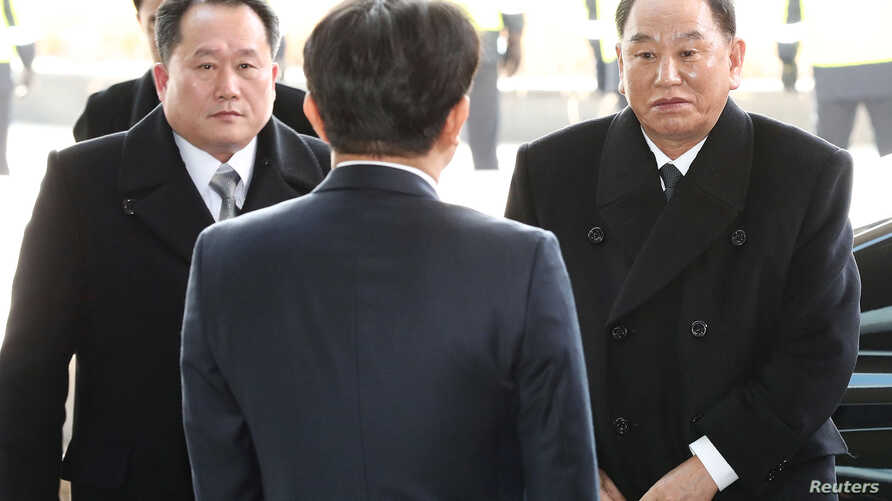 Vice chairman of the North Korean ruling party's central committee Kim Yong Chol and Ri Son-kwon, chairman of the Committee for the Peaceful Reunification of the Fatherland, arrive in Seoul, South Korea, Feb. 25, 2018.