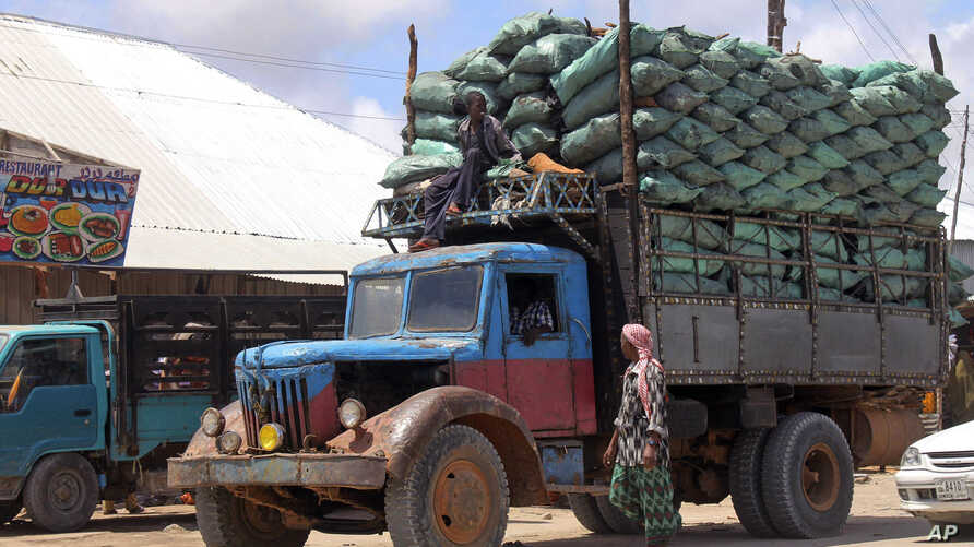 In this photo of Tuesday Oct. 30, 2012 a Somali charcoal truck loaded with sacks of charcoal arrive in Mogadishu. Thousands of sacks of dark charcoal sit atop one another in Somalia's southern port city of Kismayo, an industry once worth some $25 mil