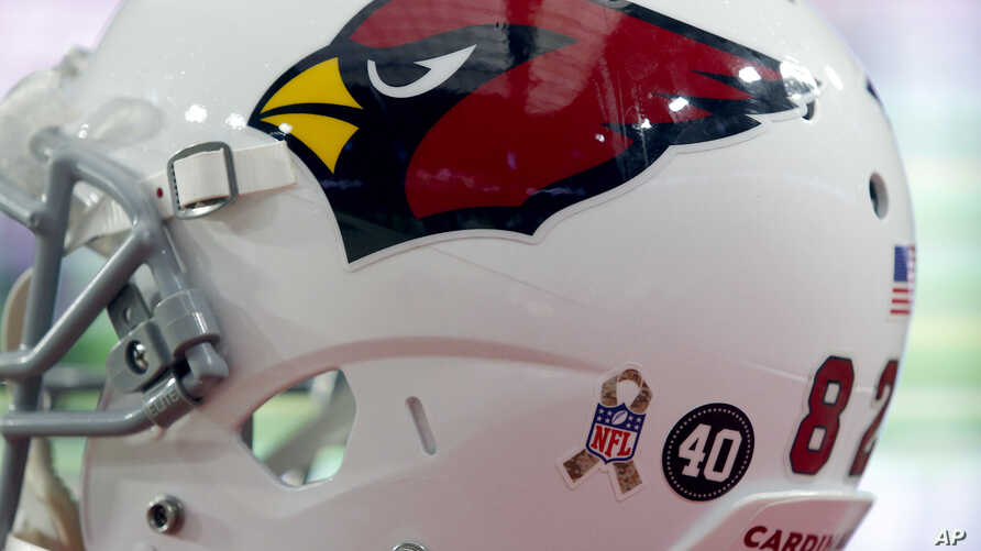 """FILE - An NFL Salute to Service logo and a Pat Tillman """"40"""" is shown on th back of a Arizona Cardinals players' helmet during the second half of an NFL football game against the St. Louis Rams."""