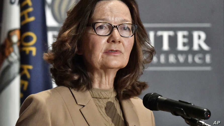 CIA Director Gina Haspel addresses the audience as part of the McConnell Center Distinguished Speaker Series at the University of Louisville, Sept. 24, 2018, in Louisville, Kentucky.