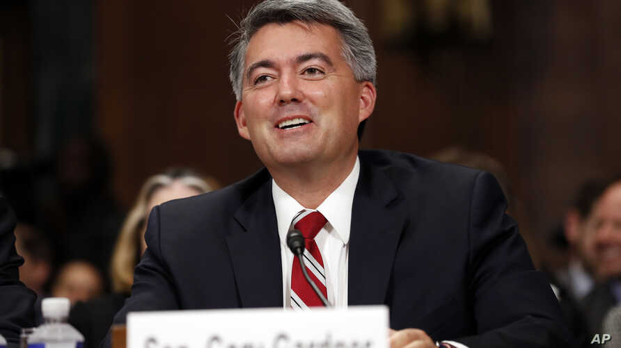 FILE - Sen. Cory Gardner, R-Colo., speaks during a Senate Judiciary Committee hearing on Capitol Hill, in Washington, Sept. 20, 2017. Gardner used his power as a senator to freeze all nominations to the Justice Department last month after Attorney Ge...