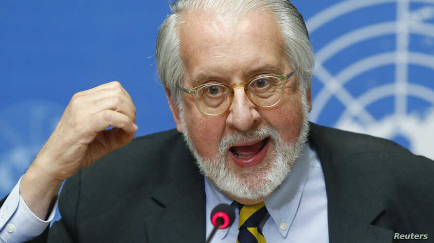 Paulo Pinheiro, chairperson of the International Commission of Inquiry on Syria talks to media during a news conference in Geneva, Sept. 16, 2013.