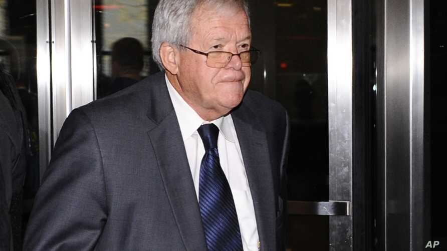 Former U.S. House Speaker Dennis Hastert leaves the federal courthouse, Oct. 28, 2015, in Chicago, Illinois, where he changed his plea to guilty in a hush-money case that alleges he agreed to pay someone $3.5 million to hide claims of past misconduct