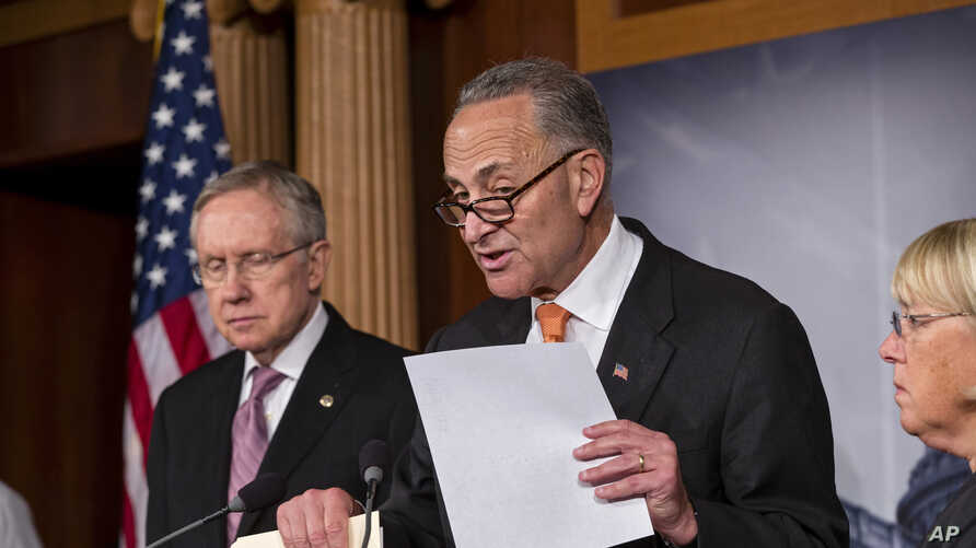From left, Senate Majority Leader Harry Reid of Nev., Sen. Charles Schumer, D-N.Y., and Senate Budget Committee Chair Sen. Patty Murray, D-Wash., announce that President Barack Obama has invited the top leaders in Congress to meet with him at the Whi...