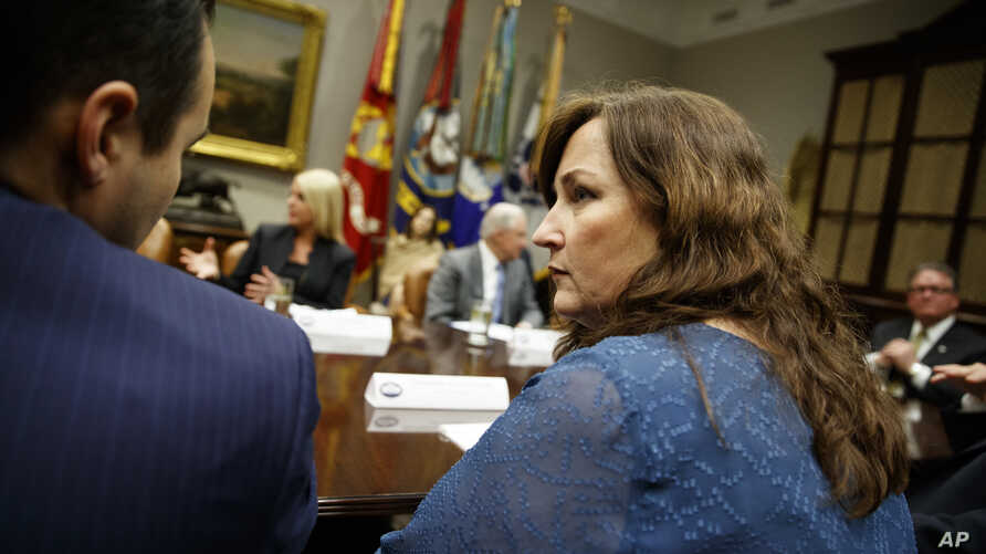 Parkland, Florida Mayor Christine Hunschofsky speaks during a meeting with President Donald Trump and state and local officials on school safety, in the Roosevelt Room of the White House, Washington, D.C., Feb. 22, 2018.