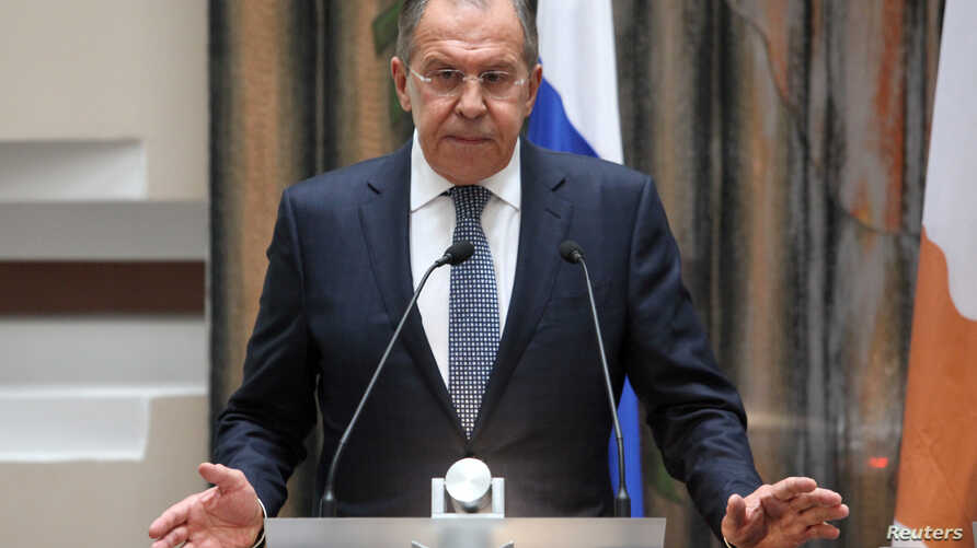 Russian Foreign Minister Sergei Lavrov speaks during a news conference at the Ministry of Foreign Affairs in Nicosia, Cyprus, May 18, 2017.