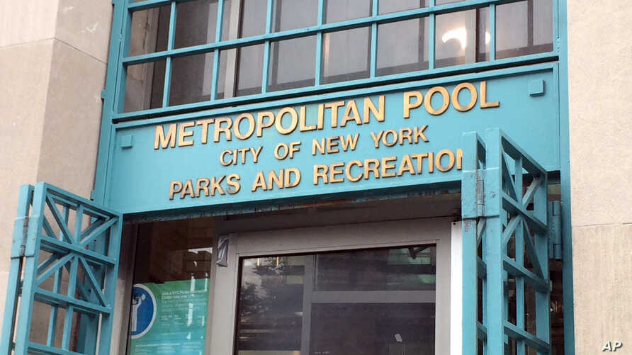 The doors are open at the Metropolitan Pool in the Williamsburg neighborhood in the Brooklyn borough of New York, Monday, June 6, 2016.