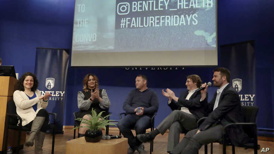 Panel members participate in an event at Bentley University, in Waltham, Mass., where professors and alumni shared some of their worst setbacks to illustrate that even successful people sometimes fail, March 5, 2019.