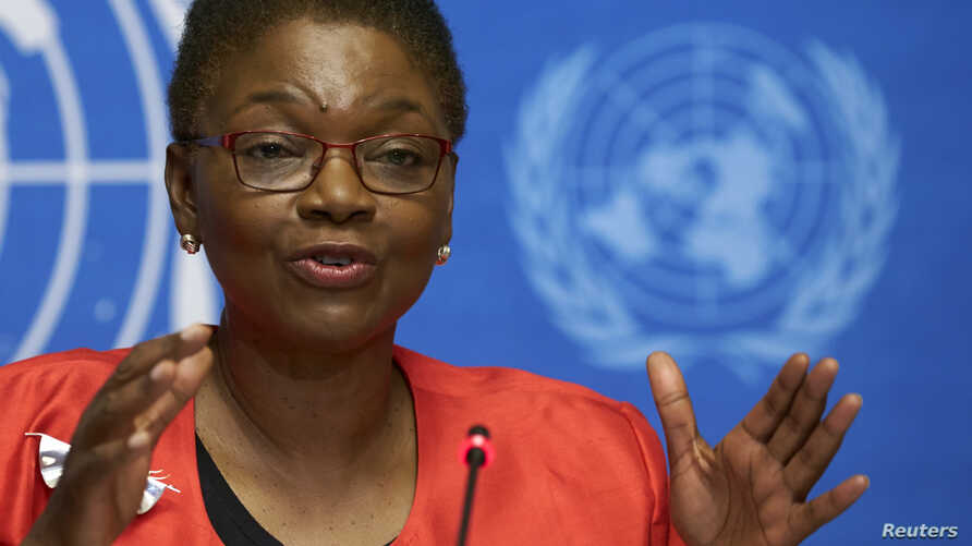 U.N. humanitarian chief Valerie Amos speaking at a news conference on Ebola at the United Nations in Geneva, Sept. 16, 2014.