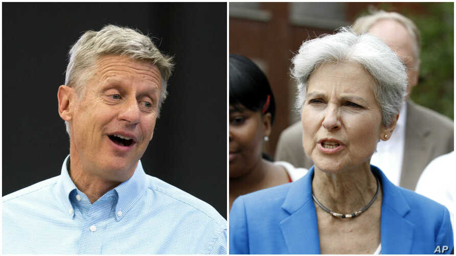 Third-party U.S. presidential candidates, from left, Libertarian Gary Johnson and Green Party Jill Stein.
