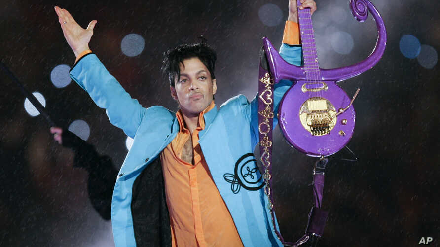 FILE - Prince performs during halftime of the Super Bowl XLI football game in Miami, Feb. 4, 2007.
