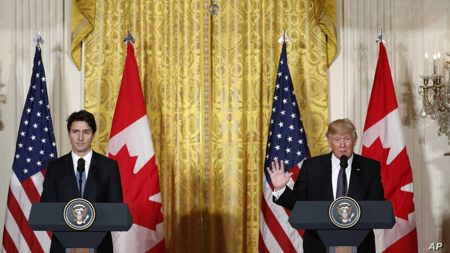 President Donald Trump and Canadian Prime Minister Justin Trudeau participate in a joint news conference in the East Room of the White House in Washington, Feb. 13, 2017.