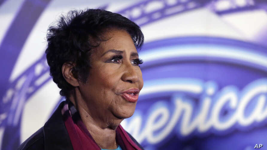 FILE - Singer Aretha Franklin is interviewed after a taping for American Idol XIV at The Fillmore Detroit, March 4, 2015.