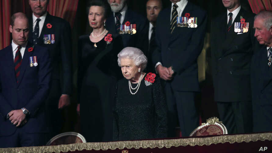 Britain's Queen Elizabeth attends the Royal British Legion Festival of Remembrance at the Royal Albert Hall in London, Saturday, Nov. 10, 2018.