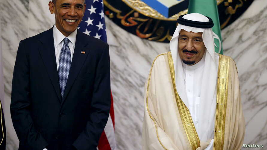 U.S. President Barack Obama (L) stands next to Saudi Arabia's King Salman during the summit of the Gulf Cooperation Council (GCC) in Riyadh, Saudi Arabia, April 21, 2016.