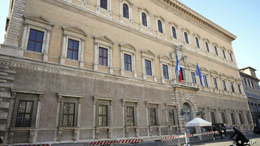 """A view of the Farnese Palace which hosts the French embassy to Italy, in Rome, Feb. 8, 2019. France's government spokesman said that the recall of the French ambassador was prompted by months of """"unfounded attacks"""" from Italian government members Lui"""