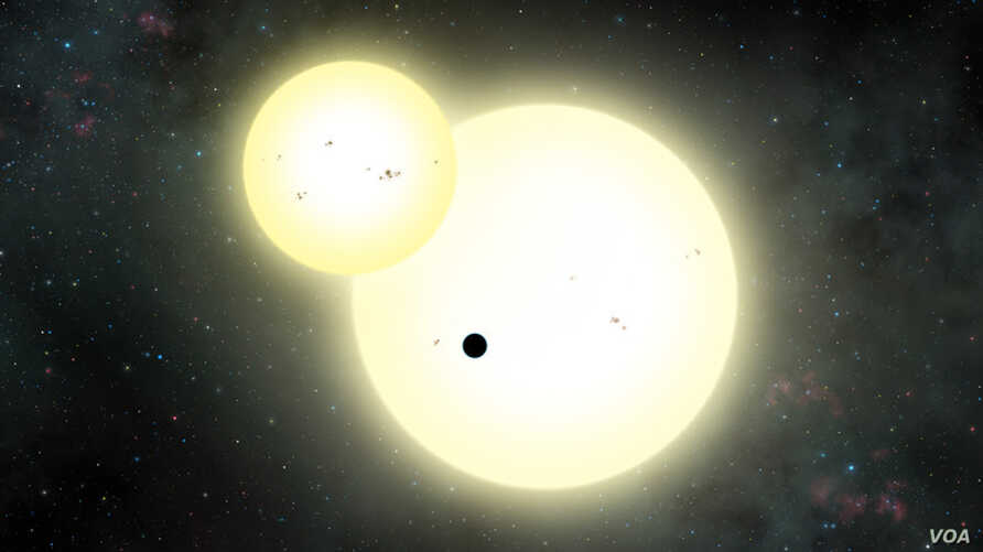 Artist's interpretation of Kepler-1647b transiting a pair of stars