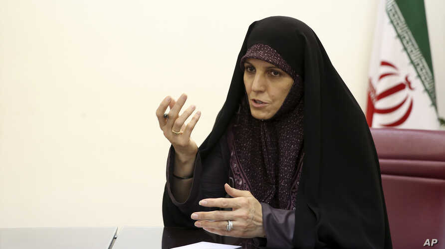FILE -Shahindokht Molaverdi speaks in an interview with The Associated Press at her office in Tehran, Iran, June 8, 2015.