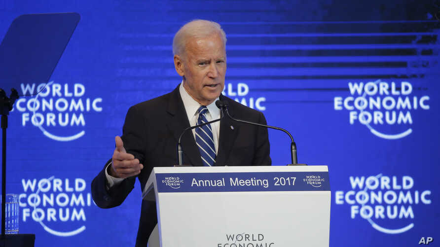 U.S. Vice President Joe Biden delivers a speech on the second day of the annual meeting of the World Economic Forum in Davos, Switzerland, Jan. 18, 2017.