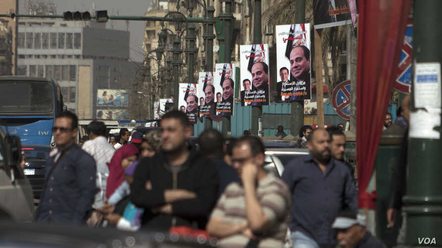 The campaign is driven largely by Egyptians' thirst for stability after years of turbulence following the popular uprising of 2011 that threw out longtime leader Hosni Mubarak.  A campaign banner in downtown Cairo has the signatures of Sissi supporte