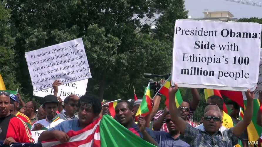 Demonstrators outside the White House protest President Obama's planned trip to Ethiopia in this July 3, 2015 photo.