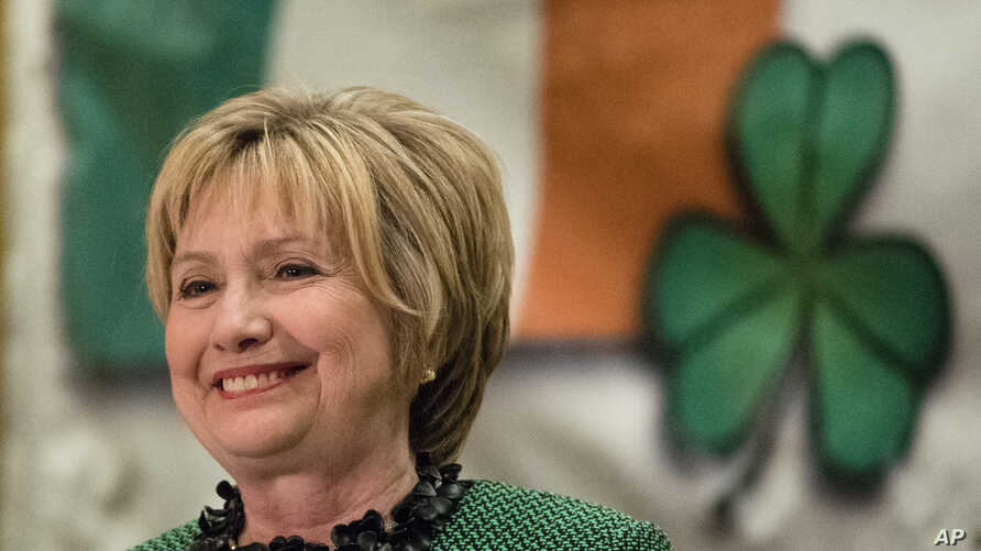 Hillary Clinton speaks at the Society of Irish Women's annual dinner on St. Patrick's Day in her late father's hometown in Scranton, Pa., March 17, 2017.