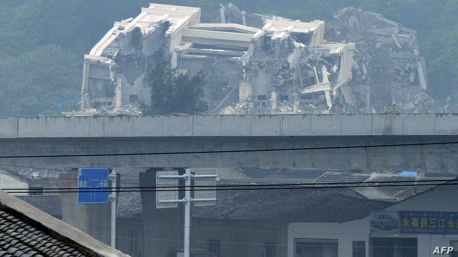 This image taken on April 30, 2014 shows a Christian church in the town of Oubei, outside the city of Wenzhou that Chinese authorities have begun demolishing on April 28.