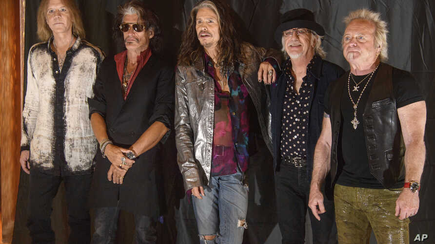 From left : Tom Hamilton,  Joe Perry, Steven Tyler, Brad Whitford, and Joey Kramer of the US rock band Aerosmith pictured during a photo call in Munich, Germany, May 25, 2017.