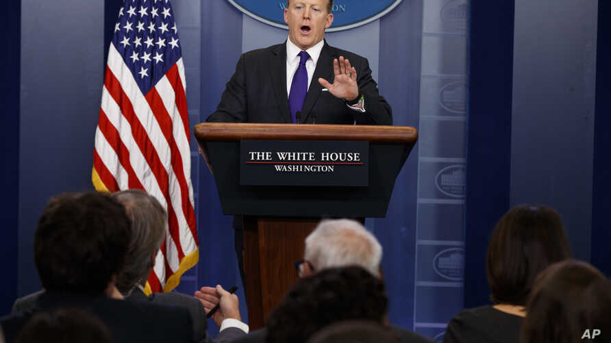 White House press secretary Sean Spicer speaks during the daily press briefing at the White House in Washington, March 30, 2017.