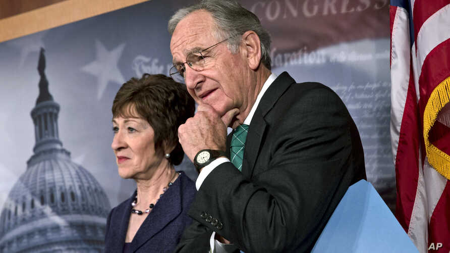Sen. Tom Harkin, right, chairman of the Health, Education, Labor, and Pensions Committee, stands with Sen. Susan Collins just after the Senate cleared a major hurdle and agreed to proceed to debate a bill that would prohibit workplace discrimination