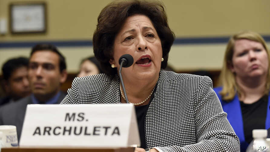 Katherine Archuleta, director of the Office of Personnel Management, testifies on Capitol Hill in Washington on recent cyber attacks, June 24, 2015.