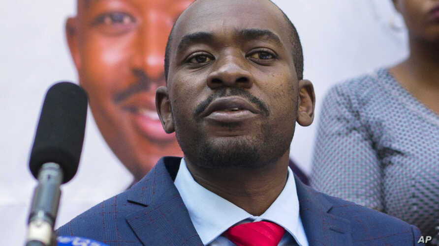 FILE - In this photo dated Aug. 3, 2018, opposition leader Nelson Chamisa gives a press conference in Harare, Zimbabwe.