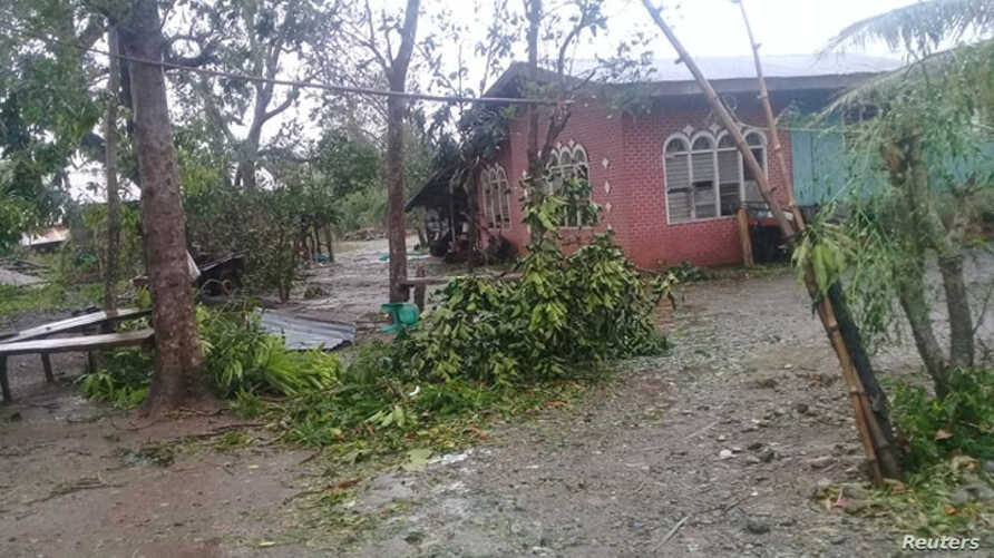 Damages caused by Typhoon Yutu in Isabela province where the typhoon first made landfall in Philippines are seen in this October 30, 2018 still image obtained from social media.