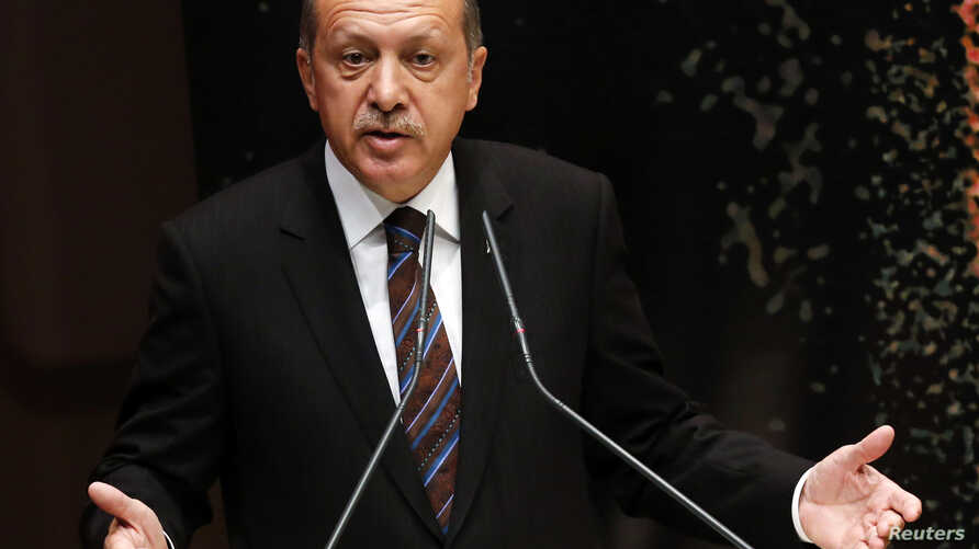 Turkey's Prime Minister Tayyip Erdogan addresses members of his ruling AK Party during a meeting at the party headquarters in Ankara, Turkey, Aug. 14, 2014.
