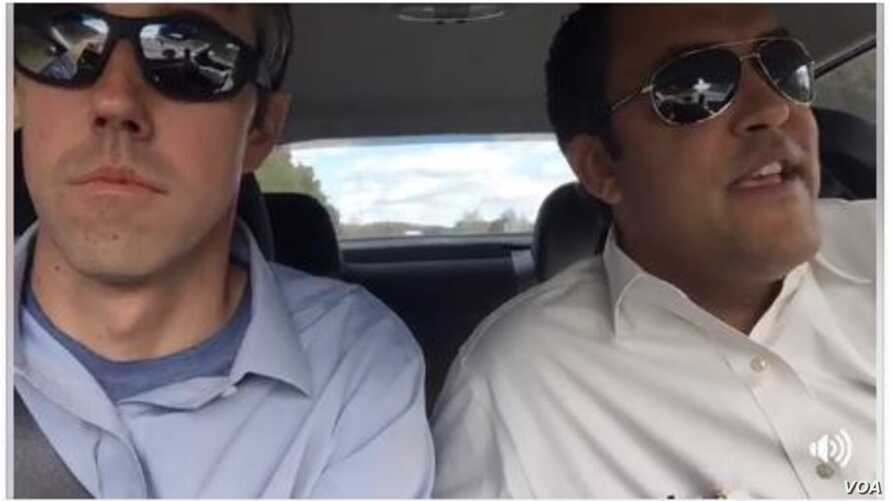Texas Representatives Beto O'Rourke, left, and Will Hurd are seen in an image taken from a video posted on O'Rourke's Facebook page.