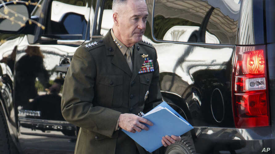 Chairman of the Joint Chiefs of Staff, Gen. Joseph Dunford, leaves a meeting at the White House, April 12, 2018, in Washington.