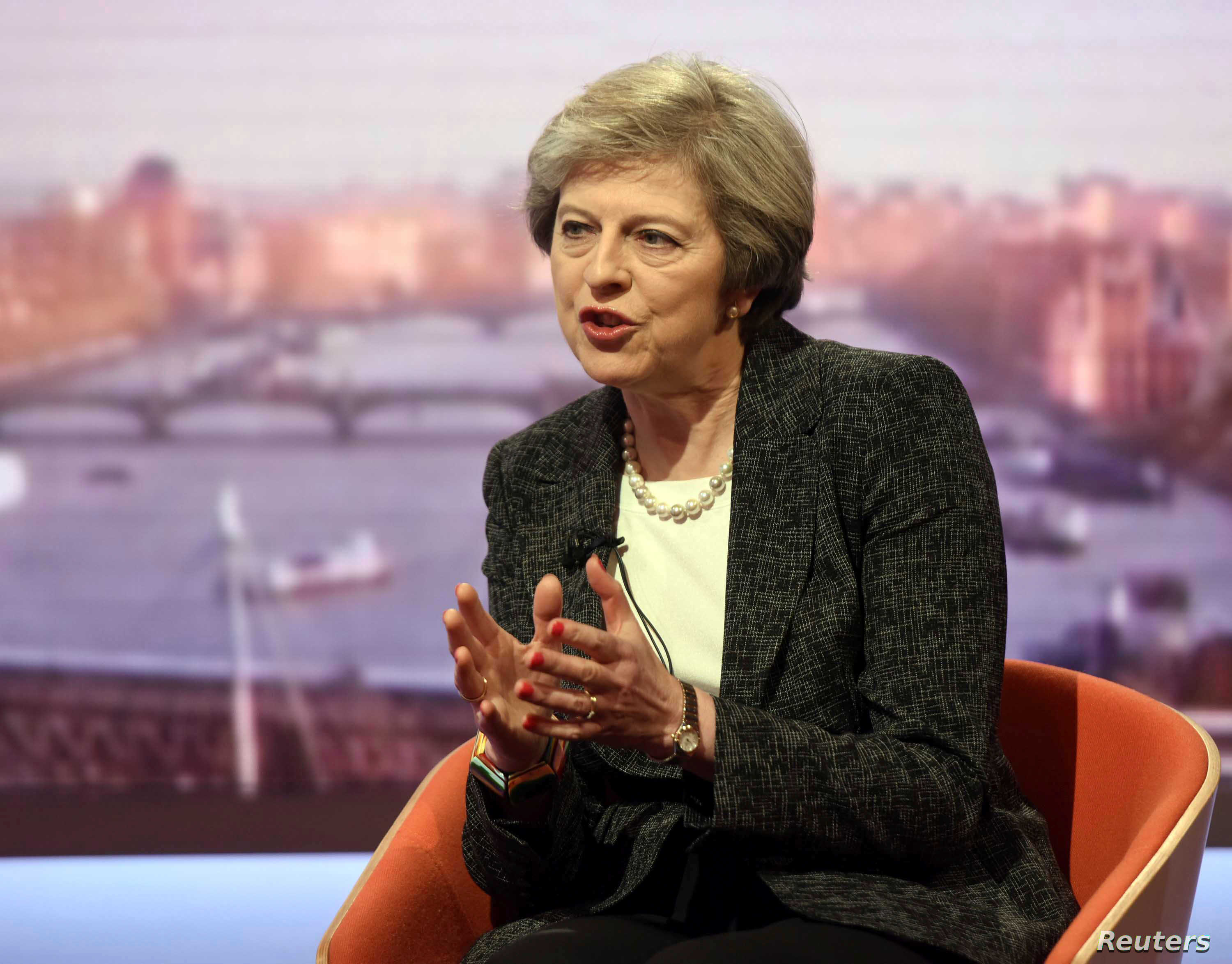 """Britain's Prime Minister Theresa May speaks on the BBC's """"The Andrew Marr Show"""" in this BBC photo in London, Jan. 22, 2017. In response to a British lawmaker, May said of her country, """"We do not sanction torture, we do not get involved with that, and"""