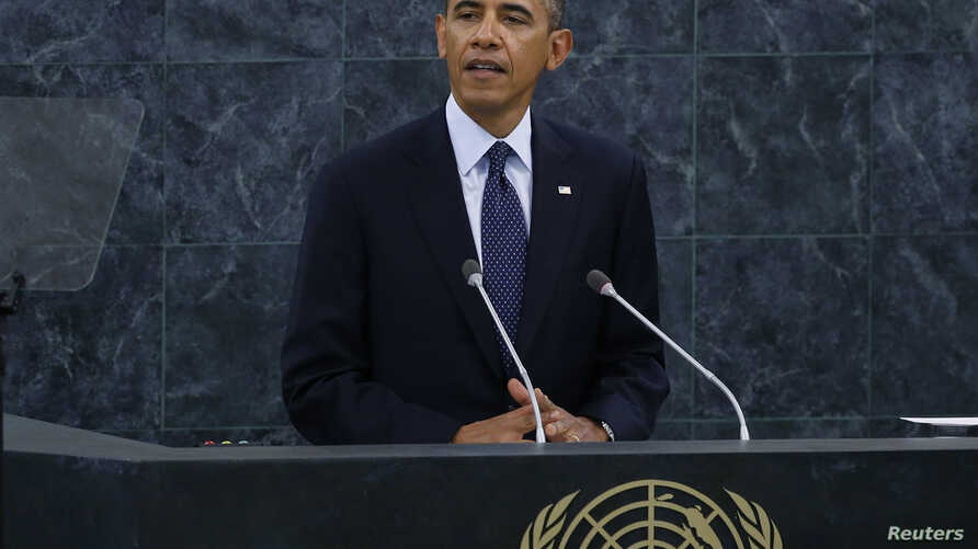 U.S. President Barack Obama addresses the 68th United Nations General Assembly at UN headquarters in New York, Sept. 24, 2013.