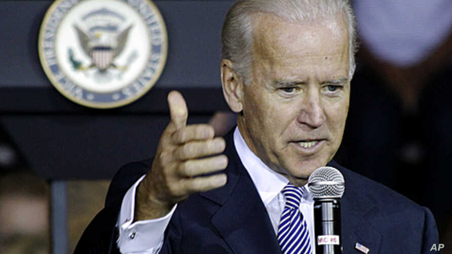 Vice President Joe Biden answers a question after speaking at the University of Pittsburgh, in Pittsburgh, Pennsylvania, November 4, 2011.